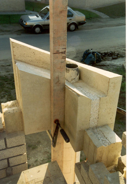 angle element of white concrete (waste outlet ( sewer ) of the roof, building my house)