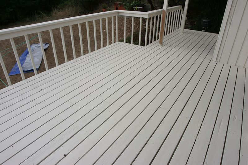 Here's the deck after the second coat was applied.  I also painted between the deck boards.  It's hard to notice, but it adds a nice touch to the overall look of the deck.