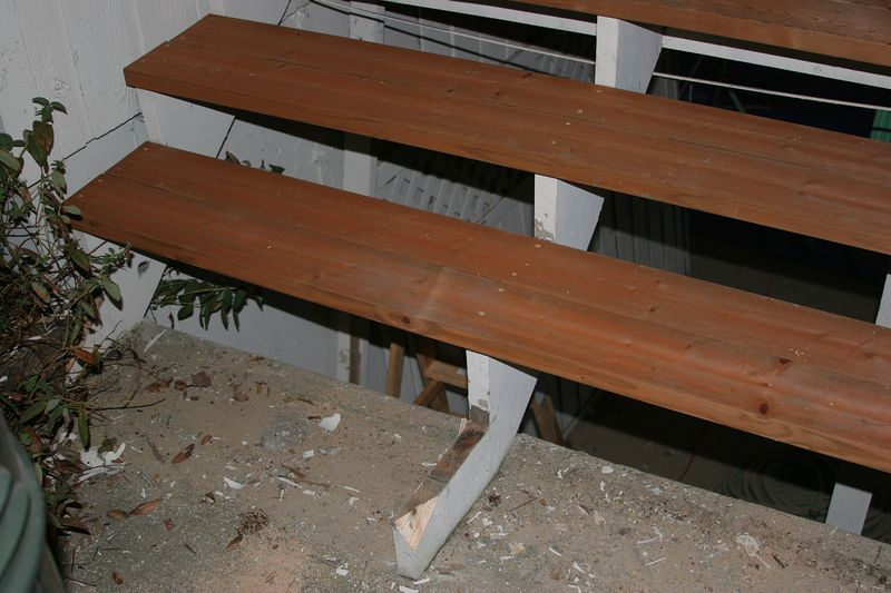 The deck stair treads were in poor condition, so I replaced them with new pressure treated wood, leaving the stringers intact.  However, the old stringers crumbled apart during the swap.