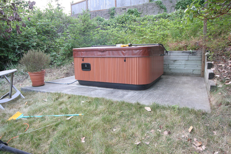 Here's the hot tub on its concrete pad before construction began.