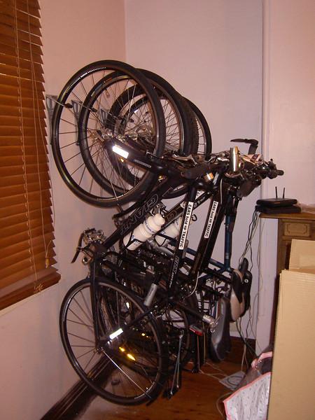 Bike racks in the front room