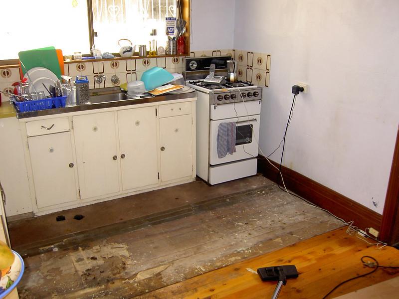 Kitchen stripped of lino