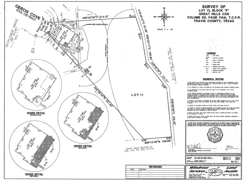 2003 Survey shows the addition on the back of the house, pool and gazebo.