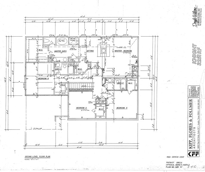 This is the original floor plan for the second level (top floor) showing the four bedrooms and three baths.  The master suite runs the full width of the house in the back, includes a free standing fireplace between sleeping and sitting areas, and opens on to its own deck.