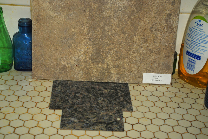 Kitchen remodel--items chosen.  This is a sample of the countertop and the backsplash.