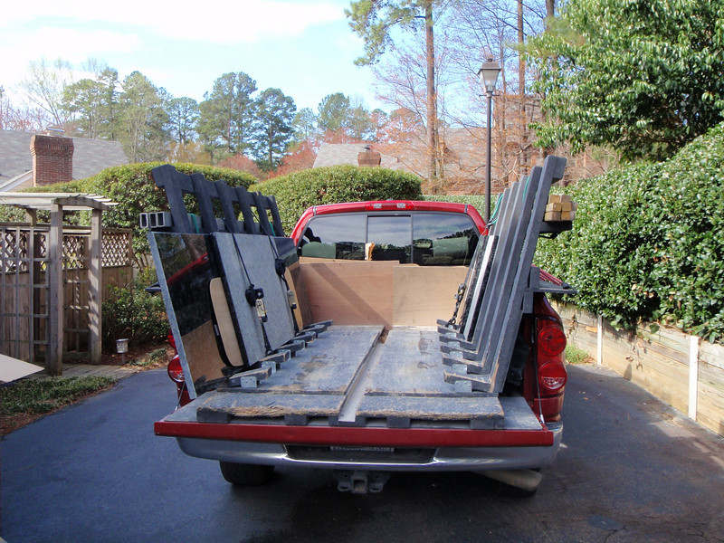 The truck arrives from Design Sources with the granite countertops!