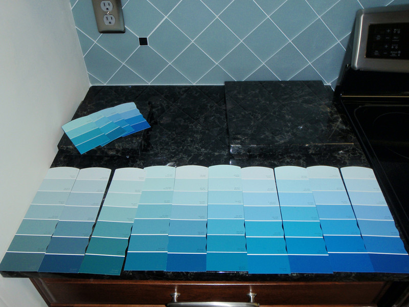 """So many paint choices!  (Notice the matching granite blocks I have for """"trivets"""" from the sink cut-outs!)"""