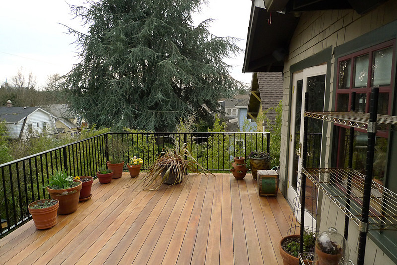 Our bedroom deck with new railing.  It is 16x12 feet.