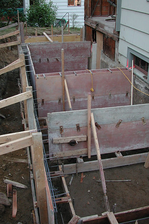 Forms for the foundation and basement walls.