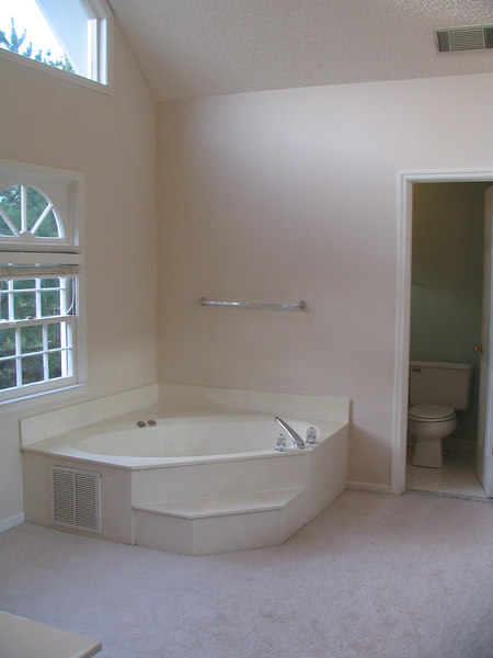 A before picture of our ugly garden tub.