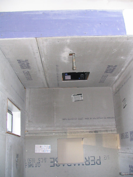 """Looking up at the shower ceiling.  There will be a 10"""" rainshower head coming out of the ceiling."""
