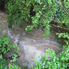 "Water running through the ""creek"" on the propery; water is halfway up the 4-ft diameter culvert; rain stopped 45 minutes ago."