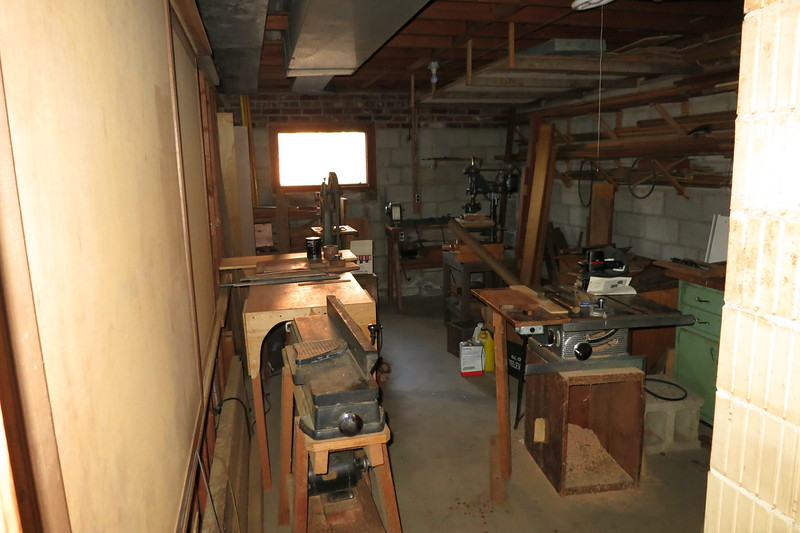 woodwork and storage on left