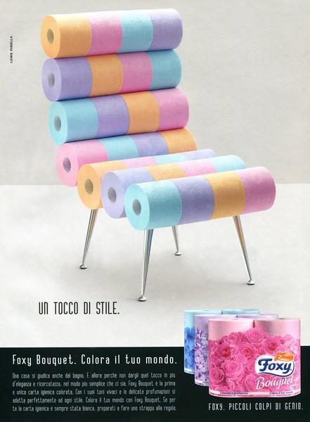FOXY Bouquet scented toilet paper 2014 Italy 'Colora il tuo mondo - Foxy. Piccoli colpi di genio'