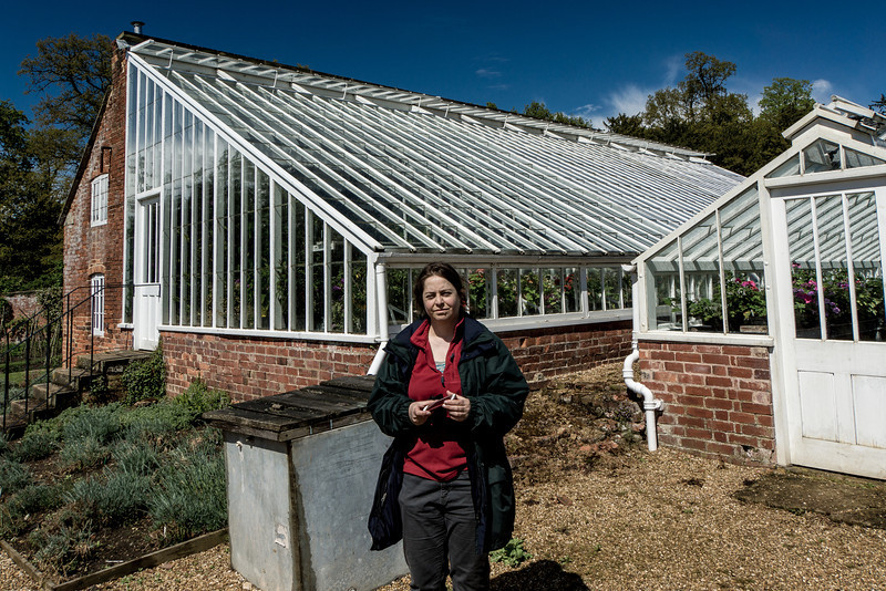 Kate and the Greenhouses, Kelmarsh Hall, Northamptonshire