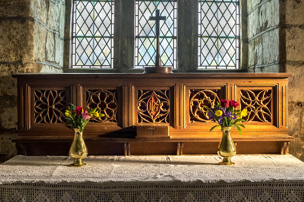 Altar and Flowers - St Peters Church Dalby North Yorkshire UK 2018