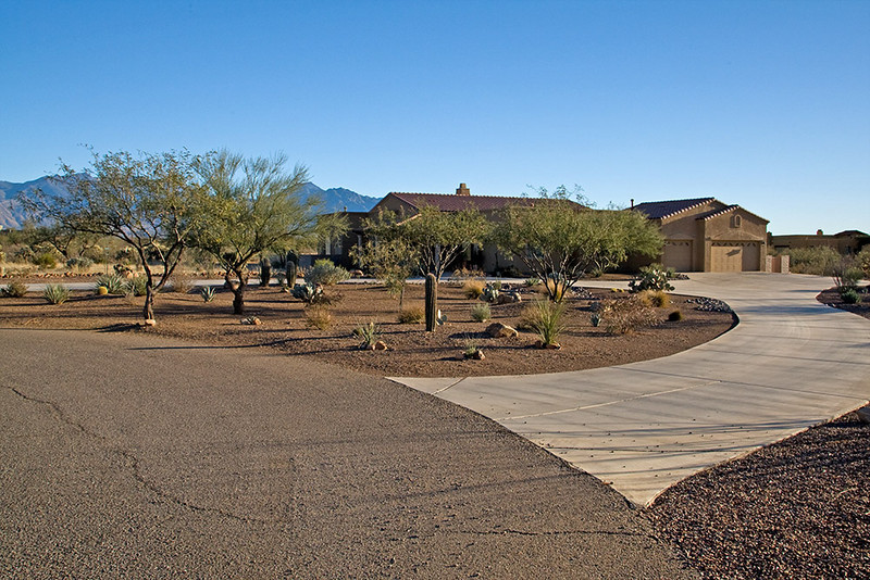 "This (January photo)shows the circular driveway and ""front yard"" entrance planting area containing native plants, which are the only plants allowed by our Pasadera Home Owners Association.  Pasadera contains 29 lots of 4+ acres each."