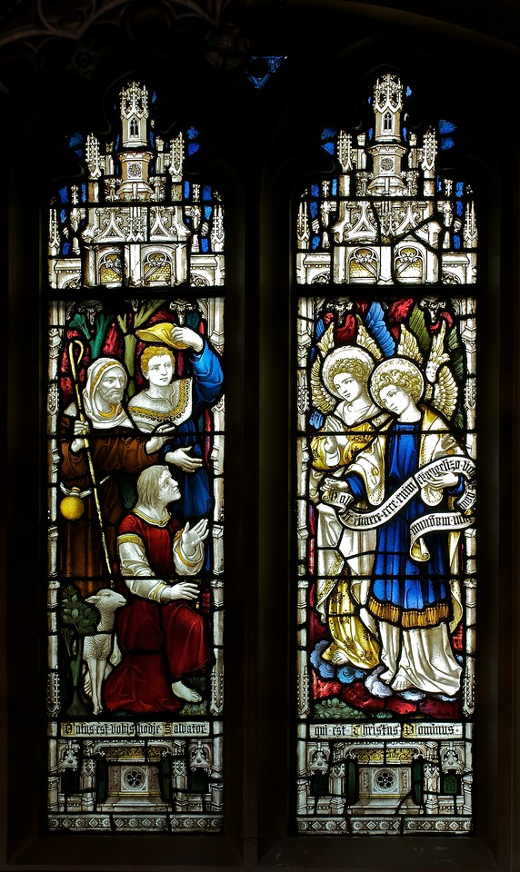 """The Church of the Incarnation Chapel of the Nativity Window  by C.E. Kempe  The Chapel of the Nativity was given by the Constable family, founders of the Arnold Constable department store. The windows and the altarpiece were purchased from a private family chapel in England. Kempe also made the Great West Window in the church.  <br><br> C.E. Kemp (1837-1907) came from a well-off family; his uncle was a successful property developer and politician in nearby Brighton, and his grandfather was Lord Mayor of London, according to   <a href=""""http://www.britainexpress.com/History/bio/Kempe.htm"""">British Express. </a> <br><br> He considered the priesthood, but his severe stammer which was an impediment to preaching. Instead Kempe decided that """"if I was not permitted to minister in the Sanctuary I would use my talents to adorn it"""", and subsequently went to study architecture with the firm of a leading ecclesiastical architect George Frederick Bodley, where he learned the aesthetic principles of medieval church art particularly stain glass, according to  <a href=""""http://en.wikipedia.org/wiki/Charles_Eamer_Kempe"""">Wikipedia.</a> From Britain Express: """"Kempe travelled around Britain and overseas, sketching medieval window designs. Kempe assisted Bodley on two major church projects in the 1860s; All Saints, Cambridge, and St John's, Liverpool. In 1866 the important stained glass makers Clayton and Bell asked Kempe to design a memorial window for Bishop Hooper in Gloucester Cathedral.  <br><br> In 1866 he started his own business in London. Kempe Studios began by supplying vestments, stained glass, and church furnishings. The studio was a success, and enjoyed continual growth throughout the late Victorian period. You could say that he was fortunate, for Kempe Studios began in a period when church architecture and rebuilding was in vogue; the spiritual Renaissance of the Victorian period led to many medieval churches being rebuilt. So suppliers of materials and architectural knowledg"""