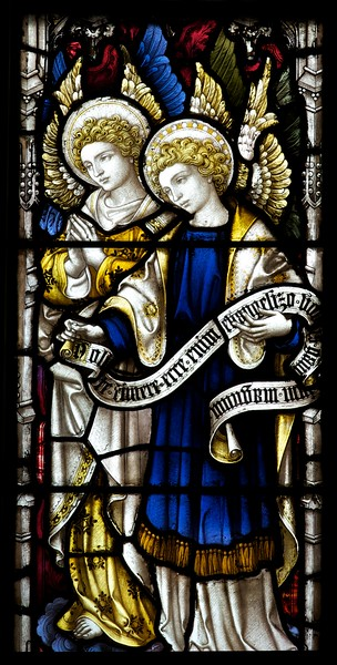 "The Church of the Incarnation Chapel of the Nativity Window  by C.E. Kempe  The Chapel of the Nativity was given by the Constable family, founders of the Arnold Constable department store. The windows and the altarpiece were purchased from a private family chapel in England. Kempe also made the Great West Window in the church.  <br><br> C.E. Kemp (1837-1907) came from a well-off family; his uncle was a successful property developer and politician in nearby Brighton, and his grandfather was Lord Mayor of London, according to   <a href=""http://www.britainexpress.com/History/bio/Kempe.htm"">British Express. </a> <br><br> He considered the priesthood, but his severe stammer which was an impediment to preaching. Instead Kempe decided that ""if I was not permitted to minister in the Sanctuary I would use my talents to adorn it"", and subsequently went to study architecture with the firm of a leading ecclesiastical architect George Frederick Bodley, where he learned the aesthetic principles of medieval church art particularly stain glass, according to  <a href=""http://en.wikipedia.org/wiki/Charles_Eamer_Kempe"">Wikipedia.</a> From Britain Express: ""Kempe travelled around Britain and overseas, sketching medieval window designs. Kempe assisted Bodley on two major church projects in the 1860s; All Saints, Cambridge, and St John's, Liverpool. In 1866 the important stained glass makers Clayton and Bell asked Kempe to design a memorial window for Bishop Hooper in Gloucester Cathedral.  <br><br> In 1866 he started his own business in London. Kempe Studios began by supplying vestments, stained glass, and church furnishings. The studio was a success, and enjoyed continual growth throughout the late Victorian period. You could say that he was fortunate, for Kempe Studios began in a period when church architecture and rebuilding was in vogue; the spiritual Renaissance of the Victorian period led to many medieval churches being rebuilt. So suppliers of materials and architectural knowledge were in great demand, and Kempe's work, particularly with stained glass, found a ready market of buyers. <br><br> Kempe decided early on that he needed to use a trademark, and he chose a wheatsheaf, which appears in the Kempe family coat of arms. Finding the wheatsheaf in a set of Kempe windows is a strangely enjoyable pastime for people who enjoy exploring Victorian churches! Kempe was especially active in his native Sussex, where fully 116 churches boast examples of his work. He did not just deal in stained glass, though it is for glass that Kempe is best known. Some of his most important work was with wall painting, such as that at Staplefield, outside Horsham, West Sussex. Aside from the wheatsheaf trademark, one of the characteristic features of a Kempe design is a strong predominence of yellow. <br><br> Kempe's designs - particularly those in stained glass - helped define the style of an age, closely associated with the artwork of the Pre-Raphaelites. When you see a Victorian stained glass window, with its clear, clean colours and romanticised figures, you may not be seeing a Kempe design, but you are almost certainly seeing a design influenced by Kempe. <br><br> Kempe died in 1907, and his company was taken over by WE Tower. But Tower did not enjoy the same success as Kempe, and the company folded in 1934. <br><br> Kempe never married; he was a shy man by nature, though he enjoyed entertaining guests at the house he purchased at Lindfield, West Sussex. He is buried in the churchyard at Ovingdean, the place of his birth."" <br><br> Kempe studios produced over 4,000 stained glass windows."