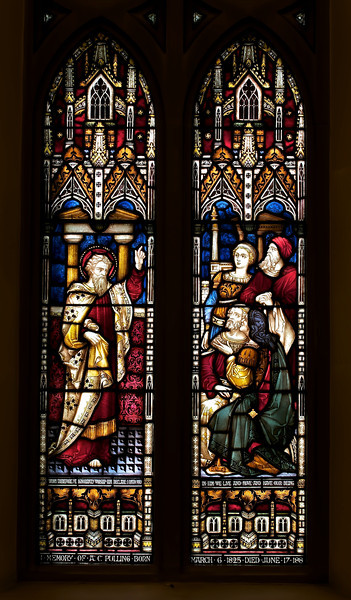 "The Church of the Incarnation, Saint Paul on Mars Hill by Clayton & Bell, London <br><br> This is a New Testament window representing the spread of the Gospel. Saint Paul is seen preaching on Mars Hill. Shown above him are Saint Luke and Saint Barnabas, Paul's companions. <br><br> Clayton and Bell was one of the most prolific and proficient workshops of English stained glass during the latter half of the 19th century, according to <a href=""http://en.wikipedia.org/wiki/Clayton_and_Bell"">Wikipedia.</a> The partners were John Richard Clayton (London, 1827–1913) and Alfred Bell (Silton, Dorset, 1832–95). The company was founded in 1855 and continued until 1993. Their windows are found throughout the U.K., U.S., Canada, Australia and New Zealand. <br><br> During the Medieval period, from the Norman Conquest of England in 1066 until the 1530s, much stained glass was produced and installed in churches, monasteries and cathedrals. Two historic events had brought an end to this and the destruction of most of the glass-the Dissolution of the Monasteries under Henry VIII and the Puritan era under Oliver Cromwell in the 17th century. <br><br> The early 19th century was marked by a renewal of the Christian faith, a growth of Roman Catholicism, a planting of new churches, particularly in centers of industrial growth and the restoration of many ancient churches and cathedrals. In the 1850s a number of young designers worked in conjunction with the leading Gothic Revival architects in the provision of stained glass for new churches and for the restoration of old; the work of John Richard Clayton, Alfred Bell, Clement Heaton, James Butler, Robert Bayne, can be found in Incarnation.  Initially Clayton and Bell's designs were manufactured by Heaton and Butler, with whom they shared a studio between 1859 and 1862, employing the very talented Robert Bayne as a designer as well. From 1861 Clayton and Bell commenced manufacturing their own glass. Robert Bayne became part of the partnership with Heaton and Butler, forming the firm Heaton, Butler and Bayne.  <br><br> There was a good deal of interaction and influence between Clayton and Bell, and Heaton, Butler and Bayne. The windows of both firms share several distinguishing features and characteristic color-combinations, which are uncommon in other designers. <br><br> Clayton and Bell moved into large premises in Regent Street, London, where they employed about 300 people. In the late 1860s and 1870s the firm was at its busiest, and employees worked night shifts in order to fulfill commissions. <br><br> After the deaths of Alfred Bell in 1895 and John Richard Clayton in 1913, the firm continued under Bell's son, John Clement Bell (1860–1944), then under Reginald Otto Bell (1884–1950) and lastly Michael Farrar-Bell (1911–93) until his death <br><br> Clayton and Bell was awarded a Royal Warrant (Royal warrants of appointment have been issued for centuries to tradespeople who supply goods or services to a royal court or certain royal personages. The royal warrant enables the supplier to advertise the fact that they supply to the issuer of the royal warrant, so lending prestige to the supplier) by the Queen in 1883.  <br><br> According to commentary in Wikipedia, Clayton and Bell windows are typified by their brilliant luminosity. In 1863 John Richard Clayton was among those who was experimenting with the manufacture of so-called pot metal or colored glass produced by simple ancient manufacturing techniques which brought about great variability in the texture and color of glass which is characteristic of ancient windows. <br><br> ""Clayton and Bell were familiar with both ancient windows and with the various artistic movements of their time, such as the Pre-Raphaelite Brotherhood. Their work shows the influence, but not the dominance of either. It is, rather, an elegant synthesis of archaeologically sourced details, such as their characteristic brightly coloured canopies which are of a 14th century style, with figures who pay passing homage to the medieval in their sweeping robes of strong bright colours, a surety and refinement of the painted details and an excellence of design which never fails to integrate the structural lines of the lead into the overall picture."""