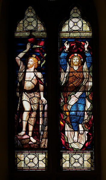 "The Church of the Incarnation, Christ's Resurrection and Ascension Stained Glass Window by Henry Holiday <br><br> Henry Holiday (1839-1927) was an English historical genre and landscape painter, stained glass designer, illustrator, and sculptor. He is considered to be a member of the Pre-Raphaelite school of art, according to <a href=""http://en.wikipedia.org/wiki/Henry_Holiday"">Wikipedia.</a> <br><br> Holiday was born in London and at age 15 was admitted to the Royal Academy. Through his friendship with several artists there, he was introduced to artists of the ""Pre-Raphaelite Brotherhood"". This movement was to be pivotal in his future artistic and political life. From Wikipedia: ""The group's intention was to reform art by rejecting what it considered the mechanistic approach first adopted by Mannerist artists who succeeded Raphael and Michelangelo. Its members believed the Classical poses and elegant compositions of Raphael in particular had been a corrupting influence on the academic teaching of art, hence the name ""Pre-Raphaelite""."" <br><br> In 1861, Holiday accepted the job of stained glass window designer for Powell's Glass Works. During his time there he fulfilled over 300 commissions, mostly for customers in the U.S. He left in 1891 to set up his own glass works in Hampstead, producing stained glass, mosaics, enamels and sacerdotal objects. <br><br> Holiday's stained glass work can be found all over Britain and some of his best is at Westminster Abbey according to Wikipedia. In addition to his stained glass work, Holiday was a painter; his works include The Burgess of Calais, The Rhine Maiders, Dante and Beatrice. He was commissioned by Lewis Carroll to illustrate The Hunting of the Snark. He remained friends with the author throughout his life."