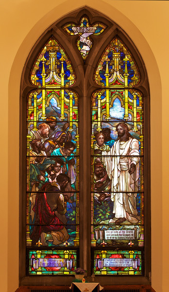 "The Second Reformed Church Christ's Farewell Interview with His Disciples Window <br><br> This window is John Gordon Guthrie (1874–1961), a Scottish immigrant, known professionally as ""J. Gordon Guthrie"". Guthrie had first designed windows for Tiffany Studios. He left Tiffany in 1906 and worked for Duffner & Kimberly until 1914. The New York City company produced leaded glass and bronze lamps at approximately the same time as Louis Comfort Tiffany. He then worked with Henry Wynd Young (1874–1923) until Young's death in 1923, when Guthrie took over the management of Young's studio. Guthrie began his own firm in 1925, and was active as a stained glass designer until his death on June 23, 1961, according to <a href=""http://en.wikipedia.org/wiki/Duffner_and_Kimberly "">Wikipedia.</a> <br><br> From <a href=""http://www.secondreformed.org/stainedglass"">the church website:</a> <br><br> The window ""…is easily distinguished from the Tiffany windows by the gold borders. But, there are many similarities, as well (perhaps due to Guthrie's experiences at the Tiffany Studios). Notice the drapery glass, the limited use of enamel painting and the plated (layered) areas. """