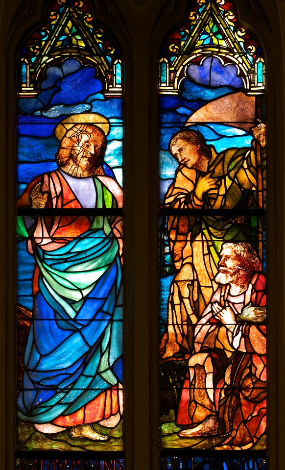 "The Church of the Incarnation, The Christian Discipleship by John LaFarge <br><br> This window represents Christ calling the apostles at the Sea of Galilee. ""The lower portraits depict Saint Peter and Saint Paul. Note that in the American-manufactured windows in this church, the faces and portraits are painted in oils onto the transparent glass. The English-manufactured windows in this church use an entirely different technique, where all aspects of the illustration are etched directly onto the colored glass and stained prior to assembly. The painted portraits have weathered over time, and are now protected from weather elements with a outer layer of plexiglass,"" according to the <a href=""http://www.churchoftheincarnation.org/about-incarnation/landmark-building/the-window-tour/christ-calling-peter-and-paul-4/ "">Incarnation website.</a> <br><br> LaFarge (1835-1910) was an American painter, muralist, and stained glass window maker. He was born in New York City. Initially intending to study law, he changed his mind after visiting Paris in 1856. He studied with Thomas Couture. Another of Couture's students was Edouard Manet. See Couture's frescoes of the Virgin Mary in my gallery on Saint-Eustache. According to to <a href=""http://en.wikipedia.org/wiki/John_LaFarge"">Wikipedia, </a> LaFarge's earliest drawings and landscapes in Newport, Rhode Island (where he studied with painter William Morris Hunt) show originality, especially in the handling of color values.  <br><br> His first work in mural painting was in the Trinity Church in Boston in 1873. Aside from Saint Paul the Apostle, his other church works include the large altarpiece at the Church of the Ascension and Saint Paul's Chapel at Columbia University. He created four great lunettes (a half-moon shaped space) representing the history of law at the Minnesota State Capital and a similar series based on the theme of Justice for the State Supreme Court building in Baltimore, Maryland.  <br><br> He was a pioneer in the study of Japanese art.  ""LaFarge made extensive travels in Asia and the South Pacific, which inspired his painting. He visited Japan in 1886, and the South Seas in 1890 and 1891, in particular spending time and absorbing the culture of Tahiti. Henry Adams accompanied him on these trips as a travel companion. He visited Hawaii in September of 1890, where he painted scenic spots on Oahu and traveled to the Island of Hawaii to paint an active volcano. He learned several languages (ancient and modern), and was erudite in literature and art; by his cultured personality and reflective conversation, he influenced many other people. Though naturally a questioner, he venerated the traditions of religious art, and preserved his Catholic faith,"" according to Wikipedia. Also from Wikipedia, ""LaFarge experimented with color problems, especially in the medium of stained glass. He rivaled the beauty of medieval windows and added new resources by inventing opalescent glass and by his original methods of superimposing and welding his materials."" <br><br> LaFarge received the Cross of the Legion of Honor from the French Government."