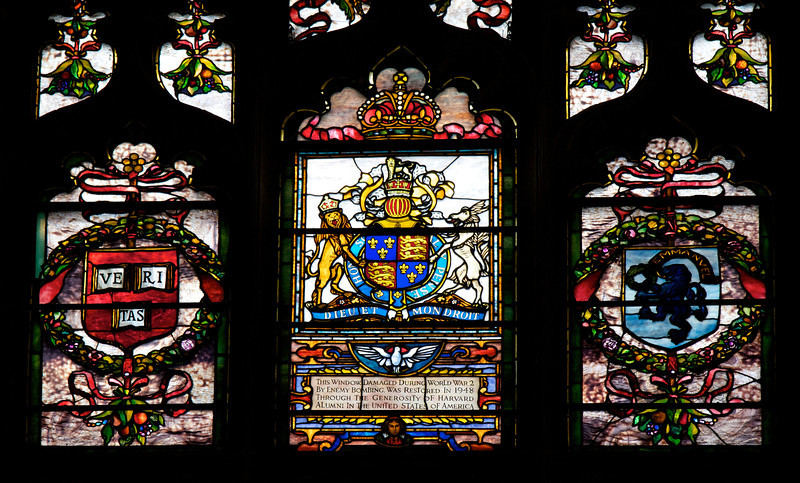"Southward Cathedral, Harvard Chapel Stained Glass Window  <br><br> Founder of Harvard University John Harvard was born in near the church in Southwark. His father was a business associate of Shakespeare's family and Shakespeare is believed to have been present when John was baptized in the church in 1607, according to <a href=""http://www.sacred-destinations.com/england/london-southwark-cathedral"">Sacred Destinations.</a> <br><br> John Harvard is commemorated in the church by the Harvard Chapel, off the North Transept, restored with funds received from members of Harvard University. John was educated at Emmanuel College, Cambridge and graduated in 1635. ""The following year he married Anne Sadler and having no relatives left in Southwark, decided to join his brother Puritans to form a godly commonwealth in the New World. <br><br> Arriving in Boston, with his library of 320 volumes, Harvard was admitted a townsman of Charlestown and ministered in the 'First Church'. He was described as a scholar and lover of learning. He died childless in 1638. He left his books (of which only one remains) and half his fortune, £779 17s 2d, to the college of Newtown, a foundation for the 'education of English and Indian youth in knowledge and godliness'. Newtown became Cambridge, Massachusetts and the college became Harvard University <a href=""http://cathedral.southwark.anglican.org/visit/area-2"">according to the church website.</a> <br><br> Two panels of stained glass windows are the highlight of the chapel. The first is a window given by the then American Ambassador to London, Joseph Choate, in 1905.  Depicting the baptism of Christ by John the Baptist, it is by an American artist John La Farge. It uses a technique of mixing several colors in one piece of opalescent glass. The second shows the Harvard crest (Veritas, Latin for ""Verity"" or ""Truth"") and Emmanuel College, Cambridge with an inscription ""This Window, Damaged During World War 2 By Enemy Bombing, Was Restored In 1948 Through The Generosity of Harvard Alumni In The United States of America."" I don't know the artist that created the window."