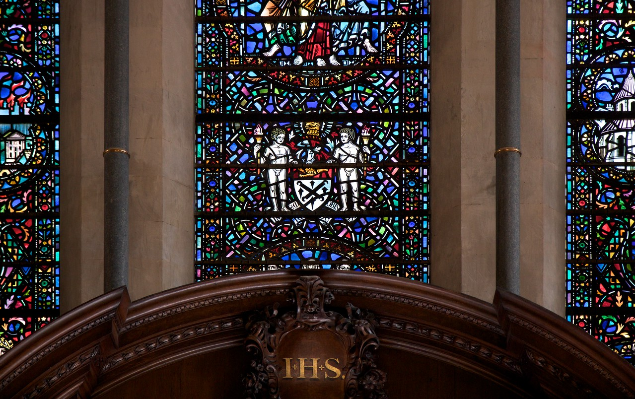 Temple Church Chancel  <br><br> Although the Great Fire of London did not touch Temple Church in 1666, it was renovated in a Victorian Gothic style by architectural great Sir Christopher Wren (architect of many churches including Saint Paul's). Most prominent is a large wooden altar in the chancel designed by Wren including the Ten Commandments written in gold letters and detailed wood carvings.  <br><br> The church was severely damaged by German incendiary bombs in May 1941 in the Battle of Britain. The roof of the Round Church caught fire and burned wooden parts of the church. Fortunately, the wooden altar was stored in a museum at the time. The church was restored and rededicated in 1958.