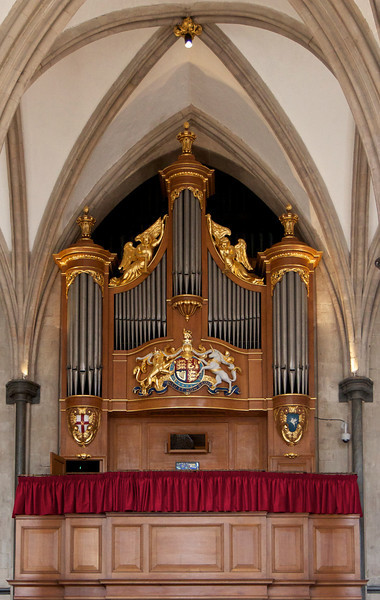 "Temple Church Organ <br><br> Harrison & Harrison Ltd built and installed the great organ in 1954. The case, behind which is the four manual organ complete with three 32-ft stops, is modeled on drawings of the Temple's Father Smith organ of 1688. <br><br> ""From 1683 (the year Father Smith and Renatus Harris were commissioned to compete for the contract to install an organ in the Temple Church), the instruments have been well documented. However, the earliest mention of an organ in the Temple Church appears in an inventory made by the Sheriffs of London in 1307 which mentions that there were In the Great Church 'Two pairs of organs and in the quire a book for the organs and two cushions for the chanter's chairs'""  according to <a href=""http://www.templechurch.com/music/the-organ/"">the church website. </a> The organ was restored from 2011-2013. <a href=""http://www.templechurch.com/organ-appeal/"">Queen Elizabeth</a> attended the dedication ceremony."