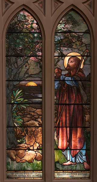"The Twenty-Third Psalm Window by Frederick Wilson of Tiffany Glass Company <br><br> From the <a href=""http://www.churchoftheincarnation.org/about-incarnation/landmark-building/the-window-tour/23rd-psalm-14/"">Incarnation website:</a> ""The Twenty-third Psalm window illustrates the text of this beautiful song. In the upper portion, angels bear torches and lilies. this window was also executed by Frederick Wilson of the Tiffany Glass Company. The long, flowing lines in the design of these two windows reflect the influence of the Art Nouveau style, of which Tiffany was very much a proponent."" <br><br> Louis Comfort Tiffany (1848-1933) was one of America's most acclaimed artists and is most associated with the Art Nouveau and Aesthetic movements according to <a href=""http://en.wikipedia.org/wiki/Louis_Comfort_Tiffany"">Wikipedia.</a> He focused in the decorative arts and is best known for his work in stained glass. He was the son of Charles Lewis Tiffany (1812-1902), founder of Tiffany & Company. Lewis chose to pursue his own artistic interests rather than joining the family business.  <br><br> He began his career as a painter and traveled extensively through Europe. In the late 1870s, Tiffany turned his attention to decorative arts and interiors. In 1881, he did the interior design of the Mark Twain House in Hartford Connecticut. His most notable work was in 1862 when President Chester Arthur refused to move into the White House until it had been resorted, according to Wikipedia. He commissioned Tiffany, who had begun to make a name for himself for interior design work, to redo the state rooms. Tiffany worked on the East Room, Blue Room, Red Room, the State Dining Room, and the Entrance Hall.  <br><br> From  <a href=""http://www.metmuseum.org/toah/hd/tiff/hd_tiff.htm"">The Metropolitan Museum website:</a> ""By late 1892 or early 1893, Tiffany built a glasshouse in Corona, Queens, New York, and, with Arthur Nash, a skilled glassworker from Stourbridge, England, his furnaces developed a method whereby different colors were blended together in the molten state, achieving subtle effects of shading and texture. Recalling the Old English word fabrile (hand-wrought), Tiffany named the blown glass from his furnaces Favrile, a trademark that signified glass of hand-made and unique quality."" <br><br> ""Of all of Tiffany's artistic endeavors, leaded-glass brought him the greatest recognition. Tiffany and his early rival, John La Farge, revolutionized the look of stained glass, which had remained essentially unchanged since medieval times when craftsmen utilized flat panes of white and colored glass with details painted with glass paints before firing and leading. Tiffany and La Farge experimented with new types of glass and achieved a more varied palette with richer hues and greater density. By 1881, each had patented an opalescent glass, a unique American phenomenon that featured a milky, opaque, and sometimes rainbow-hued appearance with the introduction of light. Internally colored with variegated shades of the same or different hues, Tiffany's Favrile glass enabled craftsmen to substitute random tonal gradations, lines, textures, and densities inherent in the material itself for pictorial details."" <br><br> At its peak, his factory employed over 300 artisans. He was appointed as art director at Tiffany & Company upon his father's death in 1902. <br><br> Tiffany lived during the Gilded Age, a period of rapid church expansion; one source reports that there were 4,000 churches under contraction in the U.S. in the 1880s according to a recent <a href=""http://www.nytimes.com/2013/01/01/arts/design/louis-c-tiffany-works-at-museum-of-biblical-art.html?ref=louiscomforttiffany"">The New York Times article</a> on an exhibit of Tiffany's ecclesiastical work. There was a great demand for artists that could create great and inspiring stained glass windows, mosaics, rederos, and altars. Many churches turned to Tiffany to create such beautiful works. His work in New York churches include Saint Michaels, Advent Lutheran, Saint Ignatius Loyola, Temple Emmanu-El, Church of the Incarnation, Holy Trinity Lutheran Church, Eldridge Street Synagogue; in New Jersey, numerous windows are in Second Reformed Church of Hackensack."