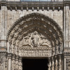 """Chartres Royal Portal <br><br> From <a href=""""http://www.sacred-destinations.com/france/chartres-cathedral"""">Sacred Destinations,</a> the West Portal is known as the Royal Portal because of the statues of king, queens, and figures from the Old Testament. It was carved by 1150. The Central Portal depicts the Last Judgment. Christ in the tympanum is surrounded by symbols of the Four Evangelists. Christ raises his right hand in blessing and holds the Book of Line in his left hand. The lintel (sculptures above the entrance) shows the 12 Apostles while the archivolts (an ornamental molding or band following the curve on the underside of an arch) show the 24 elders of the Apocalypse. The jamb statues are not identified in any source that I could find, simply statues of people holding a book, scroll, unidentified object, etc."""