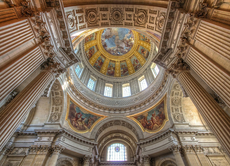 "Église du Dôme  <br><br> Louis XIV constructed a separate private royal chapel, which was named ""Église du Dôme."" Finished in 1706, it is considered one of the very finest examples of French Baroque architecture. The done was inspired by St. Peters Basilica in Rome.  The dome of the U.S. Capital, designed by Thomas U. Walter was inspired by the dome at Les Invalides. He had previously visited Les Invalides. Other U.S. structures inspired by the dome include the San Francisco City Hall, Grant's Tomb, and the U.S. Naval Academy Chapel. See <a href=""http://en.wikipedia.org/wiki/Les_Invalides"">Wikipedia</a> for more detail. <br><br> Napoleon is buried there. He was initially buried on Saint Helena, but King Louis-Philippe arranged for his remains to be brought to France in 1840. His tomb was finished in 1861. <br><br> All of my photos in the dome were handheld at 800 ISO."