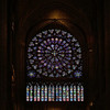 "Notre Dame South Rose Window <br><br> From the <a href=""http://www.notredamedeparis.fr/South-Rose-Window"">Notre Dame website</a>, the South Rose Window was a gift from King Saint Louis and constructed in 1260 as a counterpoint to the North Rose Window constructed in 1250. It is 42 feet (12.9 meters) in diameter. The window, dedicated to the New Testament, has 84 panes radiating out from a central medallion of Christ. From the Notre Dame website, the rose window has been damaged many times over the centuries. After being propped up since 1543 because the masonry had settled, it was restored between 1725 and 1727. However, the work was poorly executed. The window was severely altered in a fire during the 1830 revolution and had to be rebuilt again in 1861 by Viollet-le-Duc.  <br><br> It is difficult to make out specific scenes from the photo, but the website says that the fourth circle consists of around twenty angels carrying a candle, two crowns and a censer, as well as scenes from the Old and New Testaments (in the third and fourth circles) and nine scenes from the life of Saint Matthew, from the last quarter of the 12th century. From the Notre Dame website: ""The architect drew inspiration from Chartres Cathedral, placing the four great prophets (Isaiah, Jeremiah, Ezekiel and Daniel) carrying the four evangelists (Matthew, Mark, Luke and John) on their shoulders, at the centre. This window echoes the reflections of Bertrand, bishop of Chartres in the 13th century, on the connection between the Old and New Testaments: We are all dwarves standing on the shoulders of giants. We see more than they do, not because our vision is clearer there or because we are taller, but because we are lifted up due to their giant scale."""