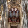 "Saint-Eustache organ <br><br> The organ at Saint-Eustache is massive, the largest I have seen. With 8,000 pipes and five keyboards of 61 notes each, the organ is said to be the largest pipe organ in France, although some think the Notre Dame organ is the largest. The organ was built in 1854 by Ducroquet. In 1879 it was enlarged and repaired in 1932 and in 1967. <br><br> The dimensions of the buffet are 18 meters high and 10.50 meters wide. The decor in the upper part consists of the coronation, angels, cherubim, (angelic beings mentioned frequently in the Old Testament) and the three massive statues of St. Cecilia surrounded by furious Saul, brandishing a spear, and seeking to calm David. The buffet was built in Holland of oiled oak. See <a href=""http://en.wikipedia.org/wiki/Saint-Eustache,_Paris"">Wikipedia</a> and <a href=""http://pleasuresofthepipes.info/Paris-St.Eustache.html"">Pleasures of the Pipes</a> for more detail. The latter provides audio and video clips."