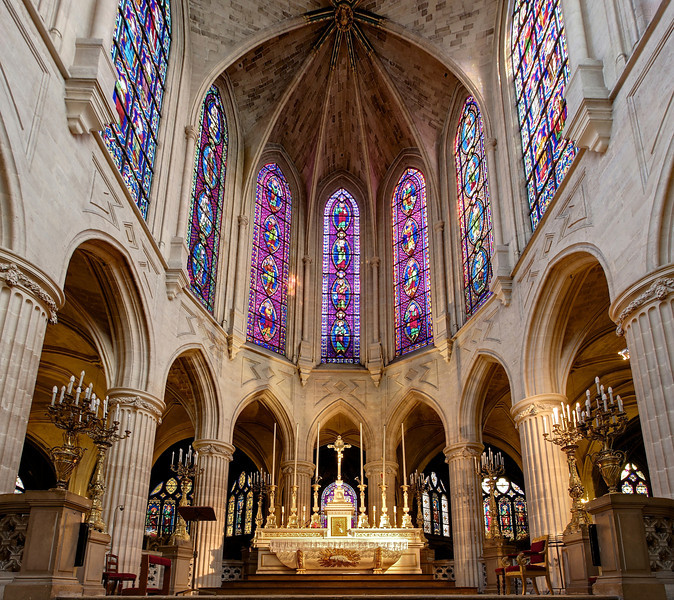 "Saint-Germain-l'Auxerrois  <br><br> Saint-Germain-l'Auxerrois is located just south of the Louvre. It was the former parish of the kings of France and was known as the Church of the Louvre. The church was originally founded in the 7th century and was rebuilt many times. In 1572, the church bell sounded, which started the St. Bartholomew's Day Massacre in which thousands of Huguenots visiting the city for a royal wedding were killed by a mob. Like most churches, Saint Germain-l'Auxerrois was damaged during the revolution; fortunately, the wonderful stained glass survived. The church was ""made to the Catholic faith in 1802"" according the to <a href=""http://www.saintgermainauxerrois.cef.fr/"">the church website.</a> Major restoration work began in 1837 after riots caused significant damage.  <br><br> Popular culture trivia: actress Eva Longoria and basketball player Tony Parker were married here in 2007."