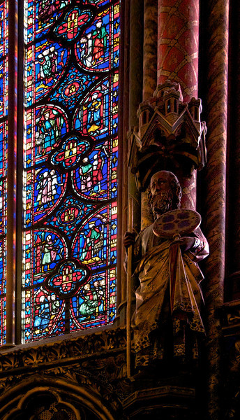 Sainte-Chapelle<br /> <br /> This is one of the 12 statues at Sainte-Chapelle representing the biblical 12 Apostles. I think this is Paul. Six out of 12 of these are originals with the remainder re-created during 19th-century restoration efforts.