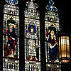 "Holy Trinity Episcopal Church Old Testament Stained Glass Windows by Henry Holiday <br><br><a href=""http://www.holytrinity-nyc.org/stained-glass-windows/"">From the Holy Trinity website on The Old Testament window:</a>  <br><br> ""Abraham, Joseph and Moses <br><br> South (right) Nave Clerestory Windows - Old Testament Windows <br><br> Abraham is shown holding a knife and the inscription in the small window reads ""By faith, when Abraham was tried, he offered up Isaac"" (Hebrews 11:17).  <br><br> Genesis 22:1-2  After these things God Tested Abraham, and said to him, ""Abraham!"" And he said, ""Here am I."" He said, ""Take your son, your only son Isaac, whom you love, and go to the land of Moriah, and offer him there as a burnt offering upon one of the mountains of which I shall tell you.""     <br><br> Genesis 22:10-13  Then Abraham put forth his hand, and took the knife to slay his son.  But the angel of the Lord called to him from heaven, and said, ëAbraham, Abraham!í And he said, ""Here as I"".  He said, ""Do not lay your hand on the lad or do anything to him; for now I know that you fear God, seeing you have not withheld your son, your only son, from me."" And Abraham lifted up his eyes and looked, and behold, behind him was a ram, caught in a thicket by his horns; and Abraham went and took the ram, and offered it up as a burnt offering instead of his son. <br><br> The center panel shows Joseph, Abraham's great grandson, who was sold into slavery by his brothers.  He was taken to Egypt where because he was able to interpret Pharaohís dreams, he was appointed ruler of Egypt.  The window shows Joseph wearing the robes of an Egyptian ruler and the inscription over him says ""Pharaoh said to Joseph, I have set thee over all Egypt."" Genesis 41:41. <br><br> Joseph saved Egypt from a famine and Egypt became a haven for people escaping famine.  At Josephís request, his father Jacob and his family moved to Egypt to survive a drought.  They grew into the nation of Israel living in Egypt 430 years until the exodus. <br><br> Moses is shown with his face bowed down and the inscription reads ""Moses hid his face for he was afraid to look at God.""   <br><br> Exodus 3:2-6  And the angel of the Lord appeared to him in a flame of fire out of the midst of a bush; and he looked, and lo, the bush was burning, yet it was not consumed.  And Moses said, ""I will turn aside and see this great sight, why the bush is not burnt.""  When the Lord saw that he turned aside to see, God called to him out of the bush, ""Moses, Moses!""  And he said, ""Here am I"".  Then he said, ""Do not come near; put off your shoes from your feet, for the place on which you are standing is holy ground."" And he said, ""I am the God of your father, the God of Abraham, the God of Isaac, and the God of Jacob.""  And Moses hid his face, for he was afraid to look at God."" <br><br> There are 17 stained glass windows created by Henry Holiday of London, all memorials to various members of the Rhinelander family. Holiday made all 17 except for the west window, which was completed by his daughter after his death. The windows are the only complete cycle of windows remaining by Holiday, and the church is one of a few churches in the world in which all windows are designed by one artist, according to church website. <br><br> Henry Holiday (1839-1927) was an English historical genre and landscape painter, stained glass designer, illustrator, and sculptor. He is considered to be a member of the Pre-Raphaelite school of art, according to <a href=""http://en.wikipedia.org/wiki/Henry_Holiday"">Wikipedia.</a> <br><br> Holiday was born in London and at age 15 was admitted to the Royal Academy. Through his friendship with several artists there, he was introduced to artists of the ""Pre-Raphaelite Brotherhood"". This movement was to be pivotal in his future artistic and political life. From Wikipedia: ""The group's intention was to reform art by rejecting what it considered the mechanistic approach first adopted by Mannerist artists who succeeded Raphael and Michelangelo. Its members believed the Classical poses and elegant compositions of Raphael in particular had been a corrupting influence on the academic teaching of art, hence the name ""Pre-Raphaelite""."" <br><br> In 1861, Holiday accepted the job of stained glass window designer for Powell's Glass Works. During his time there he fulfilled over 300 commissions, mostly for customers in the U.S. He left in 1891 to set up his own glass works in Hampstead, producing stained glass, mosaics, enamels and sacerdotal objects. <br><br> Holiday's stained glass work can be found all over Britain and some of his best is at Westminster Abbey according to Wikipedia. <br><br> In addition to his stained glass work, Holiday was a painter; his works include The Burgess of Calais, The Rhine Maiders, Dante and Beatrice. He was commissioned by Lewis Carroll to illustrate The Hunting of the Snark. He remained friends with the author throughout his life.<br><br>"