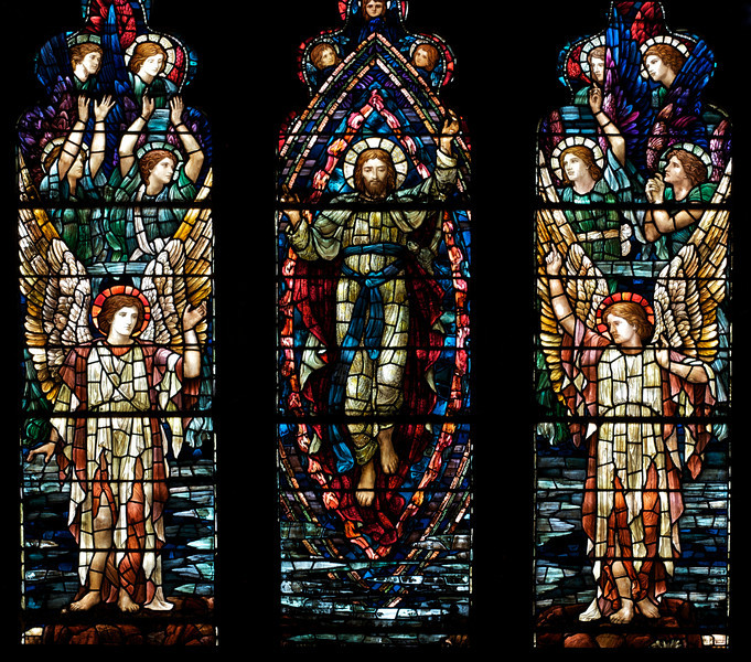 "Holy Trinity Episcopal Church Ascension Stained Glass Window by Henry Holiday <br><br><a href=""http://www.holytrinity-nyc.org/stained-glass-windows/"">From the Holy Trinity website on The Ascension nouth transept window:</a>  <br><br> ""In the main panels of the window, the figure of Christ is shown being received into Heaven by a host of angels."" <br><br> There are 17 stained glass windows created by Henry Holiday of London, all memorials to various members of the Rhinelander family. Holiday made all 17 except for the west window, which was completed by his daughter after his death. The windows are the only complete cycle of windows remaining by Holiday, and the church is one of a few churches in the world in which all windows are designed by one artist, according to church website. <br><br> Henry Holiday (1839-1927) was an English historical genre and landscape painter, stained glass designer, illustrator, and sculptor. He is considered to be a member of the Pre-Raphaelite school of art, according to <a href=""http://en.wikipedia.org/wiki/Henry_Holiday"">Wikipedia.</a> <br><br> Holiday was born in London and at age 15 was admitted to the Royal Academy. Through his friendship with several artists there, he was introduced to artists of the ""Pre-Raphaelite Brotherhood"". This movement was to be pivotal in his future artistic and political life. From Wikipedia: ""The group's intention was to reform art by rejecting what it considered the mechanistic approach first adopted by Mannerist artists who succeeded Raphael and Michelangelo. Its members believed the Classical poses and elegant compositions of Raphael in particular had been a corrupting influence on the academic teaching of art, hence the name ""Pre-Raphaelite""."" <br><br> In 1861, Holiday accepted the job of stained glass window designer for Powell's Glass Works. During his time there he fulfilled over 300 commissions, mostly for customers in the U.S. He left in 1891 to set up his own glass works in Hampstead, producing stained glass, mosaics, enamels and sacerdotal objects. <br><br> Holiday's stained glass work can be found all over Britain and some of his best is at Westminster Abbey according to Wikipedia. <br><br> In addition to his stained glass work, Holiday was a painter; his works include The Burgess of Calais, The Rhine Maiders, Dante and Beatrice. He was commissioned by Lewis Carroll to illustrate The Hunting of the Snark. He remained friends with the author throughout his life."