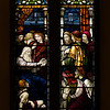 "Christian Nurturing by Henry Holiday <br><br> This window embodies the ideals of parental and Christian nurturing. In the lower portion, Jacob blesses his children. In the upper portion of the window, Christ gives His commission to Saint Peter. <br><br> Henry Holiday (1839-1927) was an English historical genre and landscape painter, stained glass designer, illustrator, and sculptor. He is considered to be a member of the Pre-Raphaelite school of art, according to <a href=""http://en.wikipedia.org/wiki/Henry_Holiday"">Wikipedia.</a> <br><br> Holiday was born in London and at age 15 was admitted to the Royal Academy. Through his friendship with several artists there, he was introduced to artists of the ""Pre-Raphaelite Brotherhood"". This movement was to be pivotal in his future artistic and political life. From Wikipedia: ""The group's intention was to reform art by rejecting what it considered the mechanistic approach first adopted by Mannerist artists who succeeded Raphael and Michelangelo. Its members believed the Classical poses and elegant compositions of Raphael in particular had been a corrupting influence on the academic teaching of art, hence the name ""Pre-Raphaelite""."" <br><br> In 1861, Holiday accepted the job of stained glass window designer for Powell's Glass Works. During his time there he fulfilled over 300 commissions, mostly for customers in the U.S. He left in 1891 to set up his own glass works in Hampstead, producing stained glass, mosaics, enamels and sacerdotal objects. <br><br> Holiday's stained glass work can be found all over Britain and some of his best is at Westminster Abbey according to Wikipedia. In addition to his stained glass work, Holiday was a painter; his works include The Burgess of Calais, The Rhine Maiders, Dante and Beatrice. He was commissioned by Lewis Carroll to illustrate The Hunting of the Snark. He remained friends with the author throughout his life."