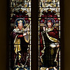 "Moses and the Law by Heaton, Butler, and Bayne <br><br> This is an Old Testament window, the upper window depicts David and Isaiah, who represent the Psalms and the Prophets.  <br><br> Clement Heaton originally founded his stained glass firm in 1852, joined by James Butler in 1855. Between 1859-61 they worked alongside Clayton and Bell and were joined by Robert Turnill Bayne, who became their sole designer and a full partner in the firm from 1862. His windows show strong design and color, and are often recognizable by the inclusion of at least one figure with Bayne's features and long beard to <a href=""http://en.wikipedia.org/wiki/Heaton,_Butler_and_Bayne"">Wikipedia.</a>. They established their studio in Covent Garden, London, and went on to become one of the leading firms of Gothic Revival stained glass manufacturers, whose work was commissioned by the principal Victorian architects. A change in direction came with their production of windows to the designs of Henry Holiday in 1868, which show a more classical influence at work. During a long career, the firm produced stained glass for numerous churches throughout the U.K. and the U.S. <br><br> During the Medieval period, from the Norman Conquest of England in 1066 until the 1530s, much stained glass was produced and installed in churches, monasteries and cathedrals. Two historic events had brought an end to this and the destruction of most of the glass-the Dissolution of the Monasteries under Henry VIII and the Puritan era under Oliver Cromwell in the 17th century. <br><br> The early 19th century was marked by a renewal of the Christian faith, a growth of Roman Catholicism, a planting of new churches, particularly in centers of industrial growth and the restoration of many ancient churches and cathedrals. In the 1850s a number of young designers worked in conjunction with the leading Gothic Revival architects in the provision of stained glass for new churches and for the restoration of old; the work of John Richard Clayton, Alfred Bell, Clement Heaton, James Butler, Robert Bayne, can be found in Incarnation."