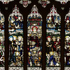 "The Church of the Incarnation Great West Window by C.E. Kempe <br><br> From the  <a href=""http://www.churchoftheincarnation.org/about-incarnation/landmark-building/the-window-tour/great-west-window-17/"">Incarnation website:</a> <br><br> ""The great west window above the main entrance to the nave depicts the Adoration of the Lord as the Risen and Enthroned Christ in Heaven with a gathering of saints and angels. Around Christ we see the Virgin Mary, Saint Peter, Saint John, Saint John the baptist, Saint Paul, Isaiah, King David, Saint Jerome, Saint Basil, Saint Columba, Saint Hilda, Saint Helena, Saint Stephen, Saint George, Saint Agnes, and Saint Catherine. In the upper portion, there are angels with scrolls bearing the words of the Te Deum. Below them are angels singing and playing their hymns of praise. This window echoes the style of fifteenth-century English glass painters and was made by C.E. Kemp of England."" Kemp also made the windows in the Chapel of the Nativity. <br><br> C.E. Kemp (1837-1907) came from a well-off family; his uncle was a successful property developer and politician in nearby Brighton, and his grandfather was Lord Mayor of London, according to   <a href=""http://www.britainexpress.com/History/bio/Kempe.htm"">British Express. </a> <br><br> He considered the priesthood, but his severe stammer which was an impediment to preaching. Instead Kempe decided that ""if I was not permitted to minister in the Sanctuary I would use my talents to adorn it"", and subsequently went to study architecture with the firm of a leading ecclesiastical architect George Frederick Bodley, where he learned the aesthetic principles of medieval church art particularly stain glass, according to  <a href=""http://en.wikipedia.org/wiki/Charles_Eamer_Kempe"">Wikipedia.</a> From Britain Express: ""Kempe travelled around Britain and overseas, sketching medieval window designs. Kempe assisted Bodley on two major church projects in the 1860s; All Saints, Cambridge, and St John's, Liverpool. In 1866 the important stained glass makers Clayton and Bell asked Kempe to design a memorial window for Bishop Hooper in Gloucester Cathedral.  <br><br> In 1866 he started his own business in London. Kempe Studios began by supplying vestments, stained glass, and church furnishings. The studio was a success, and enjoyed continual growth throughout the late Victorian period. You could say that he was fortunate, for Kempe Studios began in a period when church architecture and rebuilding was in vogue; the spiritual Renaissance of the Victorian period led to many medieval churches being rebuilt. So suppliers of materials and architectural knowledge were in great demand, and Kempe's work, particularly with stained glass, found a ready market of buyers. <br><br> Kempe decided early on that he needed to use a trademark, and he chose a wheatsheaf, which appears in the Kempe family coat of arms. Finding the wheatsheaf in a set of Kempe windows is a strangely enjoyable pastime for people who enjoy exploring Victorian churches! Kempe was especially active in his native Sussex, where fully 116 churches boast examples of his work. He did not just deal in stained glass, though it is for glass that Kempe is best known. Some of his most important work was with wall painting, such as that at Staplefield, outside Horsham, West Sussex. Aside from the wheatsheaf trademark, one of the characteristic features of a Kempe design is a strong predominence of yellow. <br><br> Kempe's designs - particularly those in stained glass - helped define the style of an age, closely associated with the artwork of the Pre-Raphaelites. When you see a Victorian stained glass window, with its clear, clean colours and romanticised figures, you may not be seeing a Kempe design, but you are almost certainly seeing a design influenced by Kempe. <br><br> Kempe died in 1907, and his company was taken over by WE Tower. But Tower did not enjoy the same success as Kempe, and the company folded in 1934. <br><br> Kempe never married; he was a shy man by nature, though he enjoyed entertaining guests at the house he purchased at Lindfield, West Sussex. He is buried in the churchyard at Ovingdean, the place of his birth."" <br><br> Kempe studios produced over 4,000 stained glass windows."