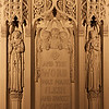 "Incarnation Church Reredos<br /> <br /> The reredos is made of caenstone. Its three cherubim hold a banner bearing the words ""And the Word was made flesh and dwelt among us."""