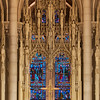 "The Riverside Church Chancel Screen<br /> <br /> From a Riverside Church pamphlet:<br /> <br /> ""The chancel screen is carved in white French Caen stone, filling seven arches above and behind the choir. The delicate tracery of this screen supports eighty figures of men and women who, through the ages, have been leading examples of specific aspects of the life of Christ. In each arch, a statue of Jesus is at the center. Moving from left to right, the panels contain figures in Physicians, Teachers, Prophets, Humanitarians, Missionaries, Reformers, and Lovers of Beauty. Included among them are Abraham Lincoln, Booker T. Washington, Florence Nightingale, Louis Pasteur, David Livingston, Martin Luther, Saint Francis, Socrates and man other historical and Biblical figures, This chancel screen and most of the stone carving at Riverside was done by the Piccirilli Brothers, working from their studio in New York City.""<br /> <br /> The statue at the top center of the photograph is Christ the Humanitarian. To the left of Christ (facing the photo) is Valentin Hauy (1745-1822, founder of the first school for the blind) and Abraham Lincoln is the similar sized statue to the left. The small stature to Lincoln's left is Booker T. Washington (1856-1915) and Samuel Chapman Armstrong (1839-1893, American educator and commissioned officer in the Union Army during the Civil War). Under Lincoln is a statue of John Howard (1726-1790, educator and prison reformer). To Christ's right is a statue of Ann Judson (1789-1826, one of the first female American foreign missionaries) with The Family Doctor to the right of Judson. Small statues around The Family Doctor are Walter Reed (left, 1851-1902, Army physician) and Edward Jenner (right, 1749-1823, pioneer of smallpox vaccine). Below The Family Doctor is William Booth (1829-1912, founder of The Salvation Army). Below Christ is The Good Samaritan."