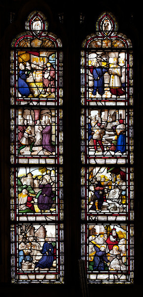 """The Riverside Church Narthex Stained Glass Windows<br /> <br /> From """"The Riverside Church"""":<br /> <br /> """"In the narthex are the only original Renaissance windows in the church. The two 16th century Flemish windows are from a church probably threatened or destroyed during the French Revolution. Later the English inscriptions were added. The two windows illustrate events, miracles, and parables in the life of Christ."""""""
