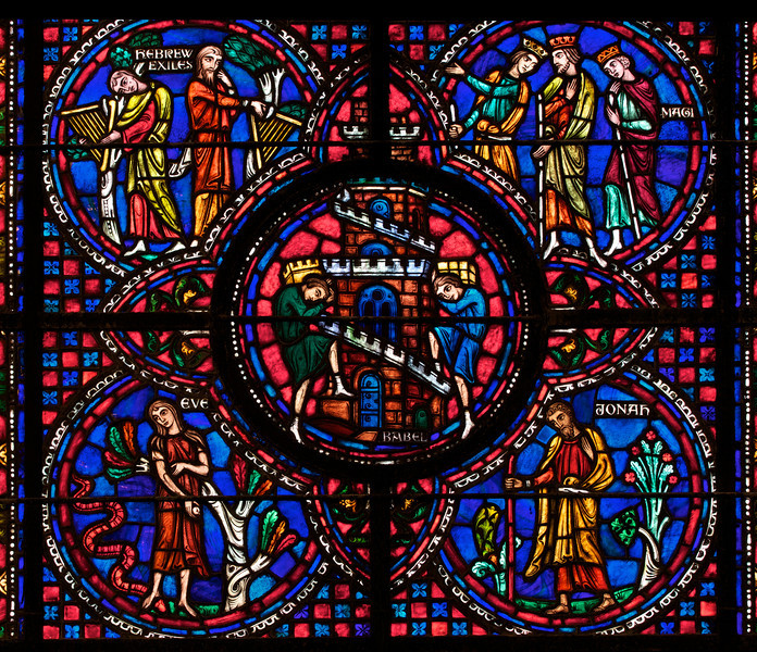 Panel from International Window at The Riverside Church<br /> <br /> Stained glass windows at Riverside Church are in the tradition of Chartres Cathedral in France and made in the U.S. and France. Many subjects of the aisle windows relate directly to modern history, such as the Declaration of Independence and the Emancipation Proclamation, treated in the Gothic spirit. Other windows celebrate the accomplishments of Aristotle, Socrates, John Calvin, and Roger Williams. I haven't been able to find the names of the artists that created the windows.<br /> <br /> There are ten aisle windows with the west aisle windows representing the following themes: Agriculture, Reformers, Bible, State, and Builders with the east windows representing International, Humanity, Scholars, Music, and Children. The aisle clerestory windows (upper windows) symbolize the communication of God with humanity through Jesus Christ, according to the church publication I referenced in the first photo.