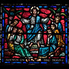 Panel from Humanity Window at Riverside Church<br /> <br /> Stained glass windows at Riverside Church are in the tradition of Chartres Cathedral in France and made in the U.S. and France. Many subjects of the aisle windows relate directly to modern history, such as the Declaration of Independence and the Emancipation Proclamation, treated in the Gothic spirit. Other windows celebrate the accomplishments of Aristotle, Socrates, John Calvin, and Roger Williams. I haven't been able to find the names of the artists that created the windows.<br /> <br /> There are ten aisle windows with the west aisle windows representing the following themes: Agriculture, Reformers, Bible, State, and Builders with the east windows representing International, Humanity, Scholars, Music, and Children. The aisle clerestory windows (upper windows) symbolize the communication of God with humanity through Jesus Christ, according to the church publication I referenced in the first photo.
