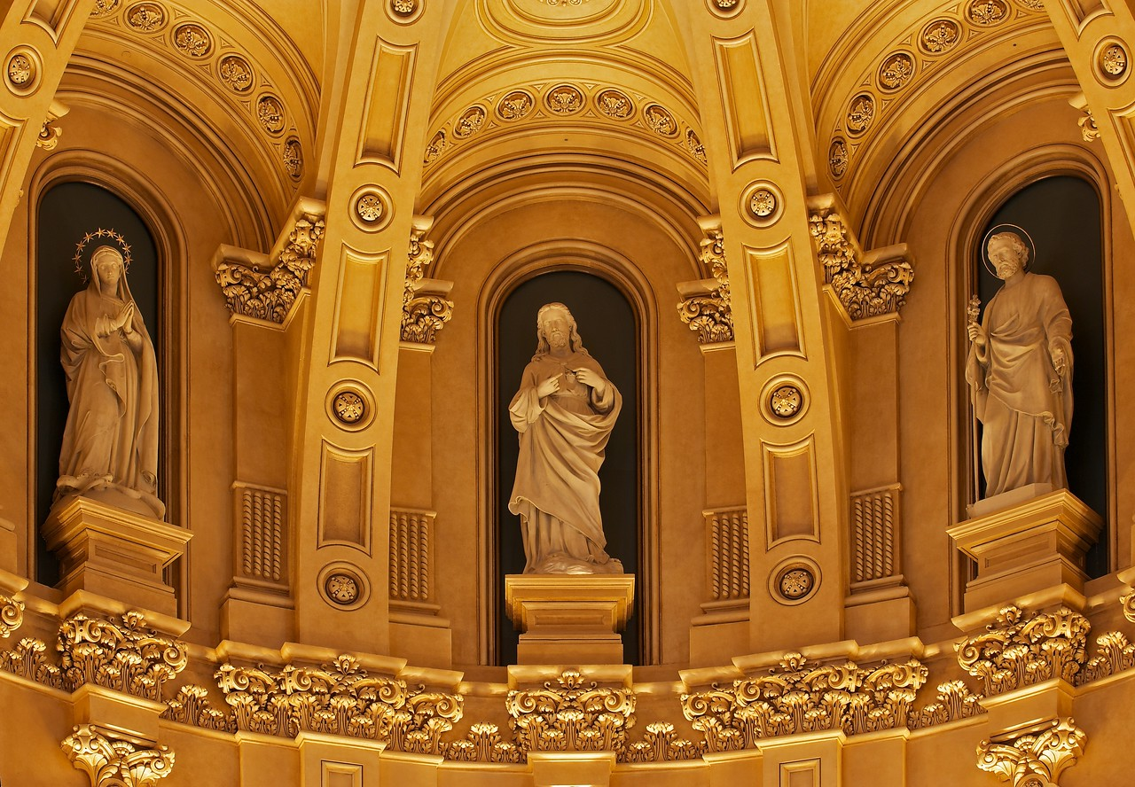 The Church of Saint Xavier Apse Statues<br /> <br /> Jesus is in the center, Saint Joseph is on the right, and The Blessed Virgin Mary is on the left.