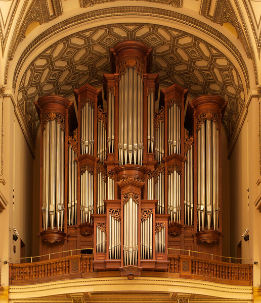 """The Church of Saint Ignatius Loyola Mander Organ <br><br> The organ at Saint Ignatius Loyola is from N.P. Mander of London and is New York City's largest mechanical action (tracker) pipe organ and is the largest mechanical action pipe organ ever to have been built in the British Isles according to <a href=""""http://www.stignatiusloyola.org/index.php/about_us/church_history_tour """">the church website. </a> The organ contains over 5,000 pipes and weighs approximately 30 tons (67,000 pounds).  <br><br> From the <a href=""""http://www.mander-organs.com/leader.html"""">Mander website:</a> <br><br> """"The 68-stop four manual and pedal organ in the Church of St Ignatius Loyola, New York is the largest mechanical action ever to have been built by a British builder. It stands some 44 feet tall on the west gallery of this fine Manhattan church and took almost two years to build and install. This instrument embodies all the principles of excellence which are the hallmark of a Mander Organ. Based on the French Romantic organ of the mid nineteenth century, it has proved to have exceptional versatility. The case is an original design and is built of French oak from trees planted about the time of the Revolution. The sensitive suspended key action which employs purely mechanical couplers has delighted many organists. <br><br> After playing a concert, André Isoir wrote  <br><br> I have played with the greatest pleasure the Mander of St Ignatius. Perfection in the building, incredible action, and above all, distinction in the voicing: this instrument is for me the most perfect medium.  <br><br> High praise indeed from one who has played and recorded on numerous organs in the course of his long and distinguished career. This achievement has established Mander firmly at the forefront of organ building at the turn of the Millennium. <br><br> A masterpiece! An inspiration for the organist. The words of Prof. Ernst-Erich Stender, organist at Buxtehude's church, the Marienkirche in Lübeck  <br><br> """