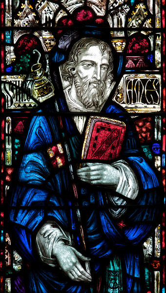 """Saint James' Church Stained Glass Window by Charles Connick <br><br> Connick (1875-1945) produced most of the spectacular stained glass windows in the church. Connick was a prominent artist best known for his work in stained glass in the Gothic Revival style. He was born in Crawford Country, Pennsylvania and developed an interest in drawing at an early age. He left high school when his father became disabled to become an illustrator on the staff of the Pittsburgh Press. At the age of 19, he learned the art of stained glass as an apprentice in the shop of Rudy Brothers in Pittsburgh, where he stayed through 1899. He worked for a number of stained glass companies in Pittsburgh and New York. He went to England and France to study ancient and modern stained glass, including those in the Chartres Cathedral. His first major work was First Baptist Church in Pittsburgh in 1912.  <br><br> Connick settled in Boston opening a stained glass studio in Back Bay in 1913; the Charles J. Connick Associates Studio continued to operate after his death until 1986. He produced many notable windows in such churches as Saint Patrick's Cathedral, Saint John the Divine, the Princeton University Chapel, and Saint Vincent Ferrer. According to Wikipedia, the Charles J. Connick Associates Studio produced some 15,000 windows in more than 5,000 churches and public buildings. <br><br> According to <a href=""""http://en.wikipedia.org/wiki/Charles_Connick"""">Wikipedia, </a> """"Connick preferred to use clear """"antique"""" glass, similar to that of the Middle Ages and praised this type of glass as """"colored radiance, with the lustre, intensity, and baffling vibrant quality of dancing lights."""" He employed a technique of """"staggered"""" solder-joints in his leading and bars, which English stained-glass historian Peter Cormack says gives the windows their """"syncopated or 'swinging' character."""" His style incorporated a strong interest in symbolism as well. Connick expressed the opinion that stained glass's first job was t"""